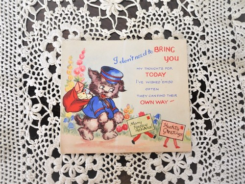 ヴィンテージ  カード 英国イギリス 絵葉書 ねこの郵便屋さん