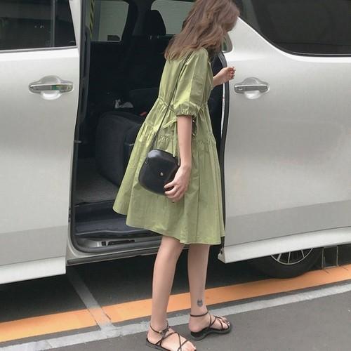 コットン ドレス ワンピース アボカドグリーン フォグブルー 0635