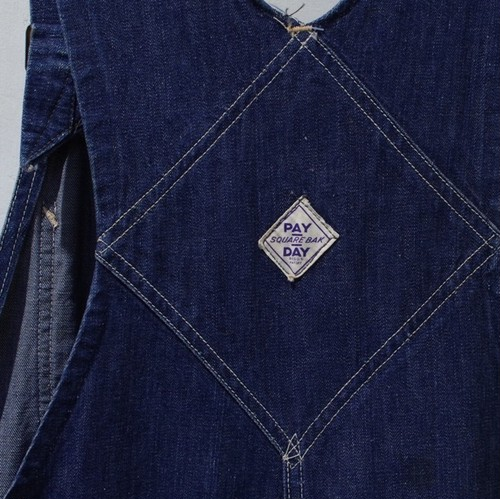 "1940s ""PAY DAY"" SQUARE BAK Denim Overall 大戦 オーバーオール"