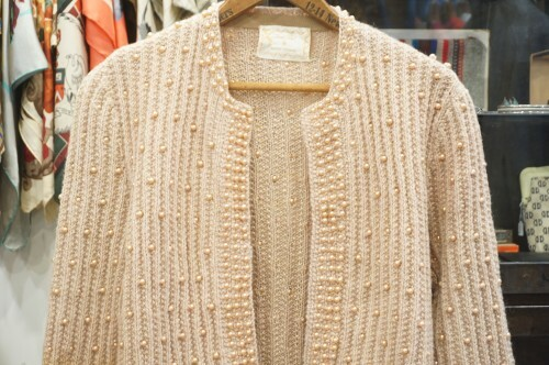 60's pearl beads trimmed open Cardigan w/gold thread