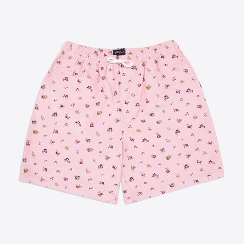 Floral Corduroy Drawstring Shorts(Pink)