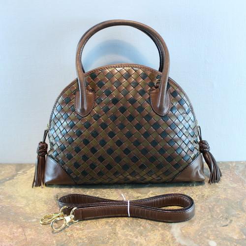 .BOTTEGA VENETA MESH LEATHER DOME TYPE SHOULDER BAG MADE IN ITALY/ボッテガヴェネタドーム型メッシュレザーショルダーバッグ 2000000035147