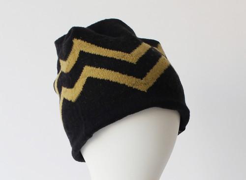 % PERCENT ニット帽(ブラック・イエロー)リバーシブル・セルフヒーター・男女兼用・ギフト箱付