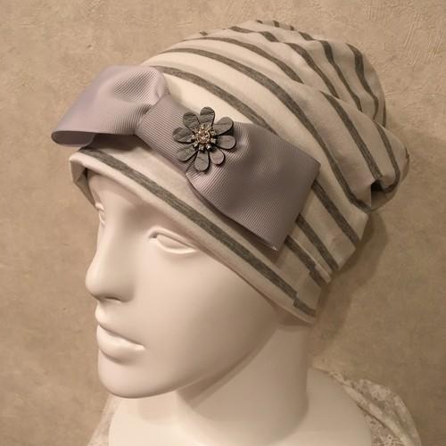 お花のビジューのケア帽子