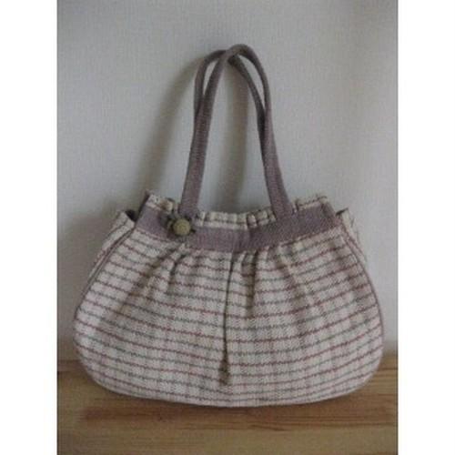 <フェアトレード>おまけの花付き 手織り チェック柄 バッグ ピンク ハンドバッグ トートバック 草木染め ネパール