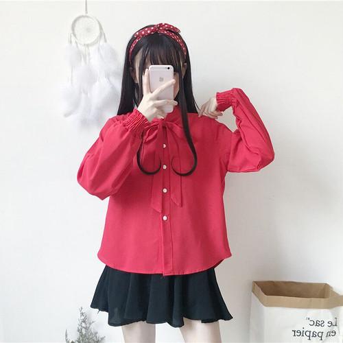 【トップス】新作韓国風ルーズパフスリーブリボン付き長袖シャツ