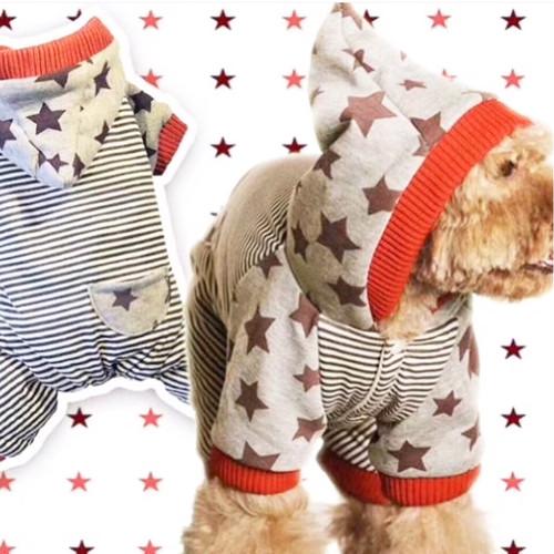 【犬服・ドッグウェア】ボーダーxスター柄☆フード付きオールインワン