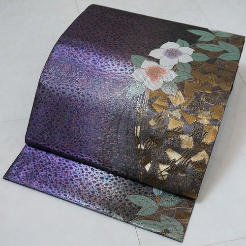 引き箔 椿 袋帯 正絹 金糸 紫 黒 223