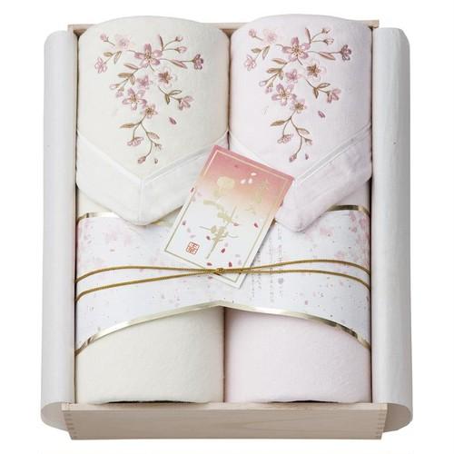 王華 木箱入りさくら刺繍シルク混綿毛布(毛羽部分)2P OK1715