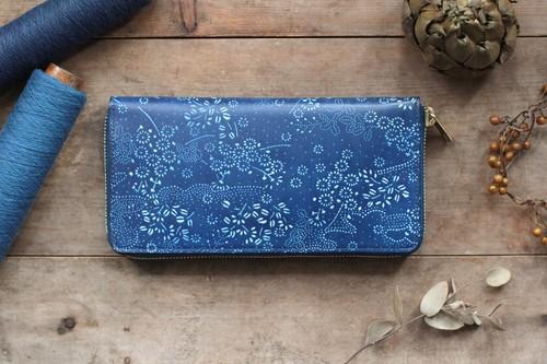 藍染革【江戸小紋・萩に花】×オイルレザー ラウンドファスナー長財布