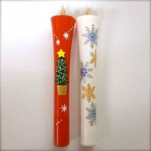 5号 クリスマスツリー・雪華文の和ろうそく