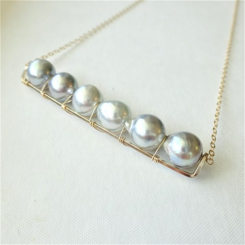 送料無料 14kgf♡Japanese Akoya sea pearl line bar necklace NATURAL SILVER パール