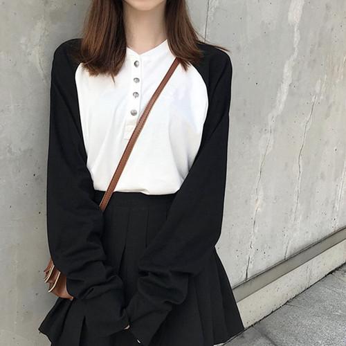 【トップス】配色ラウンドネック長袖ファッションボタンTシャツ