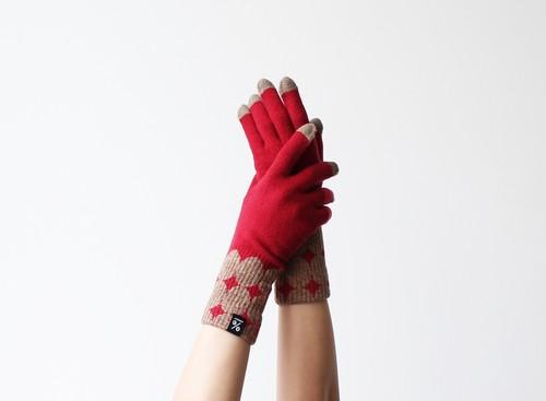 % PERCENT 手袋(FIT:レッド・ブラウン)裏起毛・スマホ対応・ギフト箱付き(男女兼用)
