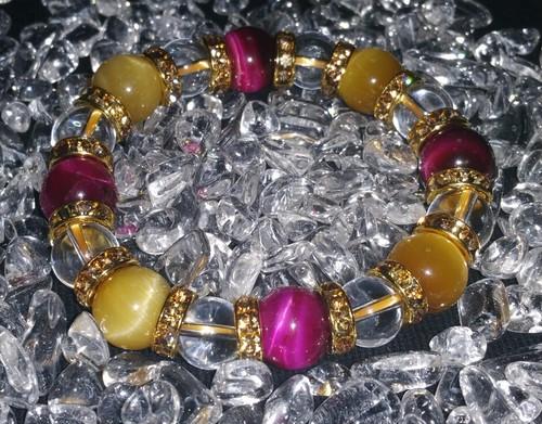 ピンク、ゴールデンタイガーアイと水晶 天然石ブレスレット