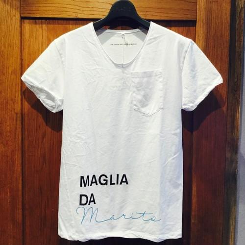 """当店不動の人気No. 1Tシャツ!!問い合わせ殺到の""""maglia Tシャツ""""はお早めに!! MAGLIA (マリア) Vネック Tシャツ """"MARITO"""" イタリア 白 white ユニセックス ポケット付き シンプル"""