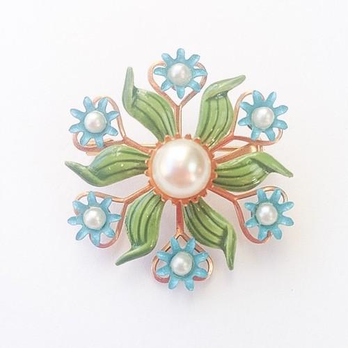 green & blue flower brooch[b-163]
