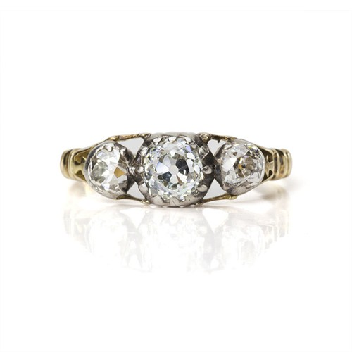 Georgian Old mine-cut Diamond 3stone Ring
