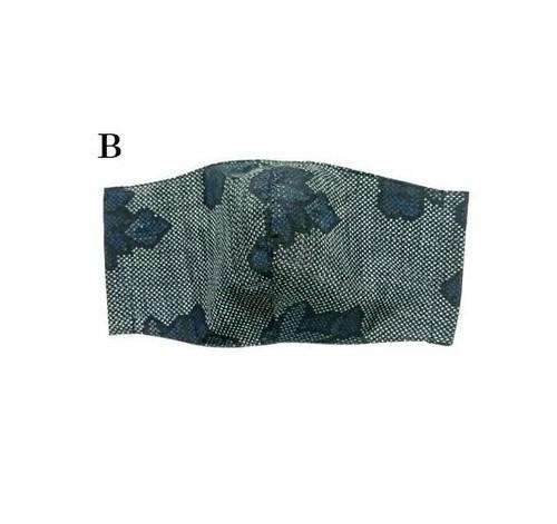 MM29 大島紬マスク(Mサイズ・ブルー系・花柄)