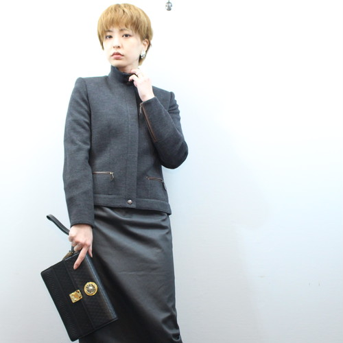 2000000026763 HERMES LEATHER PIPING JACKET MADE IN FRANCE/エルメスレザーパイピングジャケット