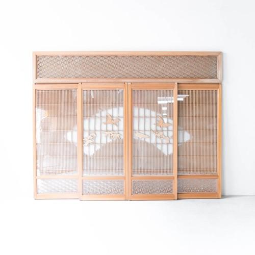 縁起物づくしのガラス入り書院欄間 5枚セット