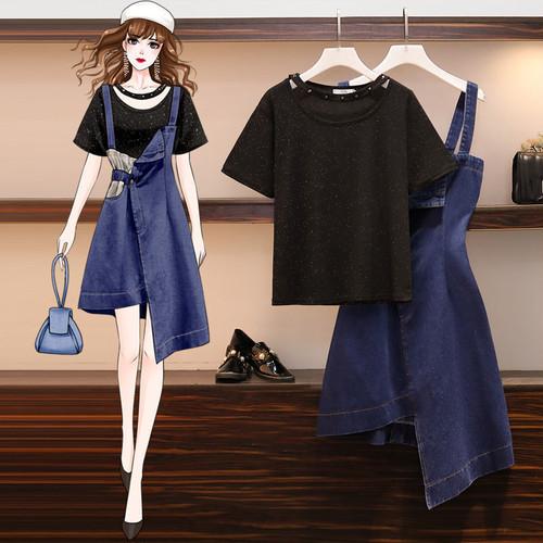 【set】気質満点大人可愛いセットアップTシャツ+ストラップデニムスカート