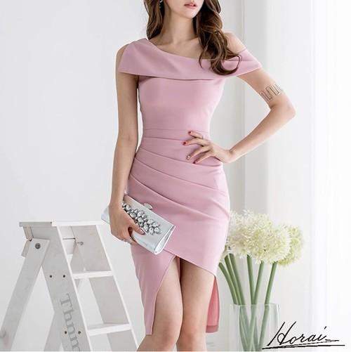 パーティードレス オフショルダー アシメスカート ワンショルダー ミディアム丈 無地 セクシー お呼ばれドレス 20代