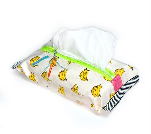 ティッシュケース-ソフトパック用 バナナ柄×ネオン黄緑