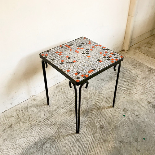 Mosaic Tile Top × Iron Frame Mini Side Table オランダ 1960's