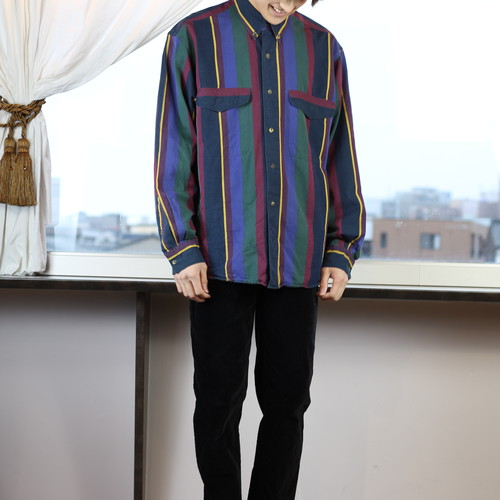 USA VINTAGE STRIPE PATTERNED LONG SLEEVE SHIRT/アメリカ古着ストライプ長袖シャツ