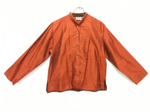 stand collar silk shirt