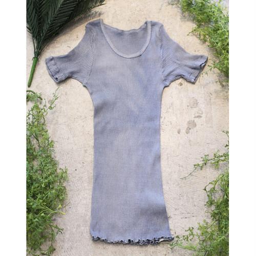 ログウッド染めオーガニックコットン100%半袖リブカットソー~秘色色(ひそくいろ)~