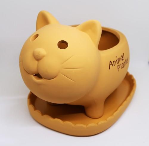 猫プランター(素焼きプランターネコ4号鉢)
