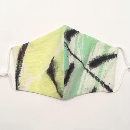 【HOLLYGRANTPATTERN】手染めの立体布マスク(グリーン×ライムグリーン)