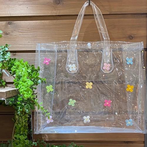 【オンライン限定価格¥2,970→¥2,200】No388クリアビニールバッグ横型(花色レインボー)