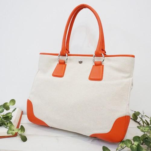 【麻X牛革】キャンバスカラフルバッグ<3色展開> P5532 ビジネスバッグ 大容量 A4収納 カラフル