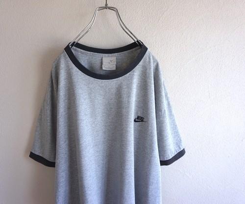 2000's [NIKE] ワンポイント刺繍 リンガーTシャツ グレー×ブラック 表記(XL) ナイキ