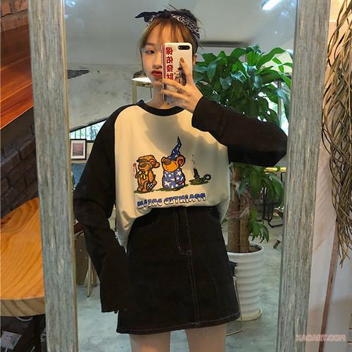 【トップス】新作シンプルカートゥーン長袖ラウンドネックTシャツ