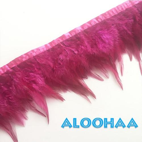 フェザーロール【ダークピンク】単色10-15cm丈 1m #31-004DPK-CT  DIY 羽 衣装材料 タヒチアン