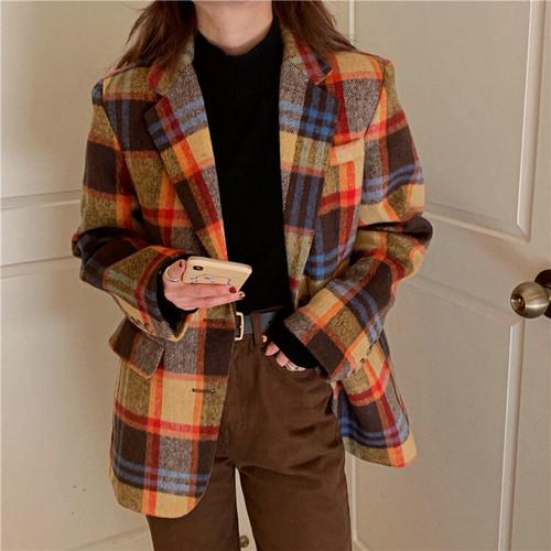 ウォームチェックジャケット チェックジャケット ジャケット 韓国ファッション