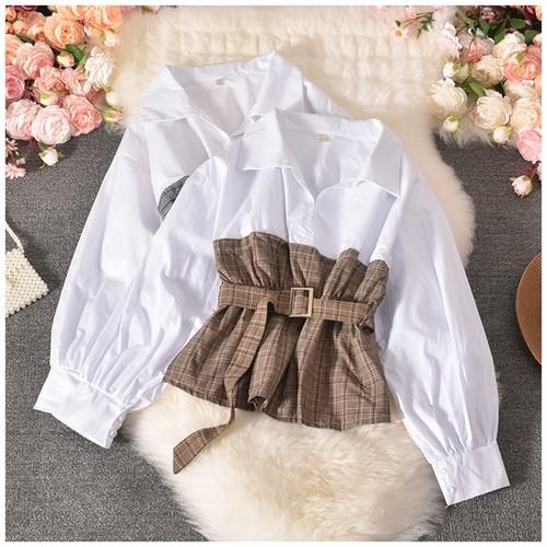 【tops】豊富な品揃えカジュアル チュニックチェック柄 切り替えシャツ2色