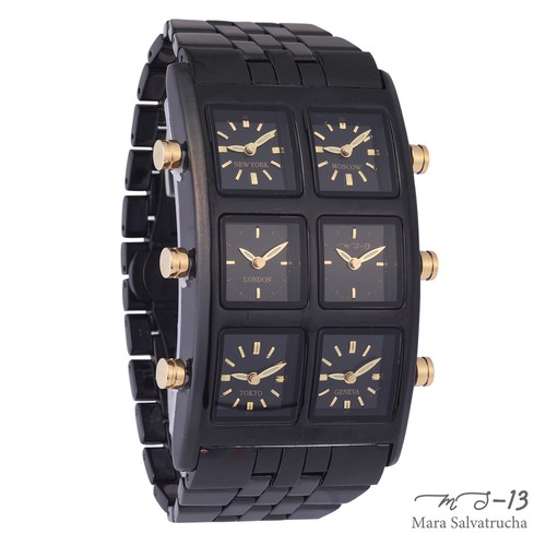 【MS-13】腕時計 6TIME ZONE シックスタイムゾーン (カラー:ブラック×ブラック)[限定100本のみ]