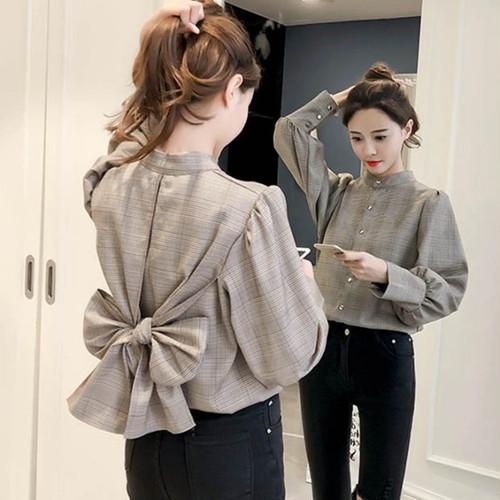 「トップス」韓国風ファッションチェックリボン長袖スタンドネックシャツ