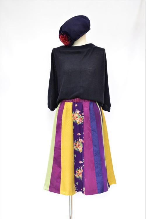着物地のスカート:紫花柄/着物リメイク/国内送料無料/2営業日以内発送/2002s03