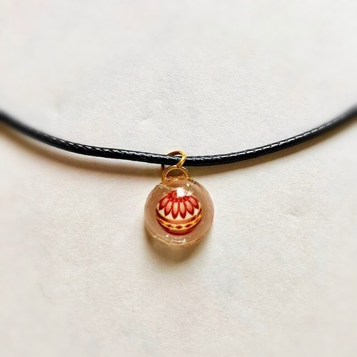 和風チョーカーネックレス 赤い手まり Japanese style choker necklace Red Temari handball