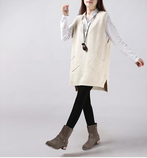 シンプルに、暖かく。それが大人女子♥ポケット付きノースリーブニットベスト