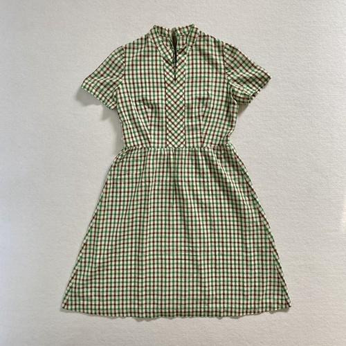 checkered no collar dress (V5098A)