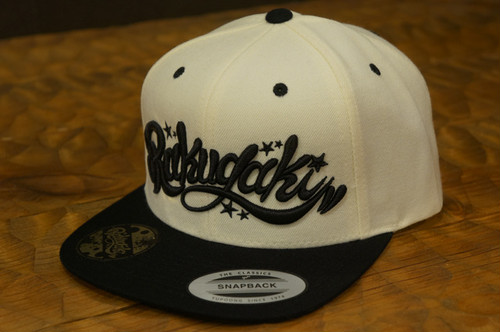 RAKUGAKI Main logo Snap Back Cap Natural/Black x Black