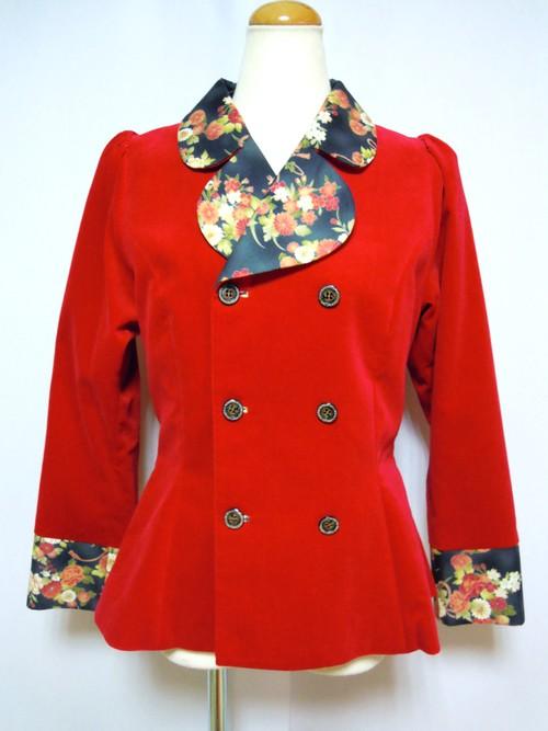赤別珍×和柄ジャケット(リボンブローチ付き)