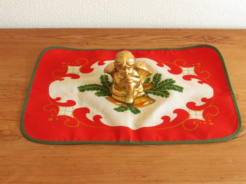 (SALE) ドイツのクリスマス★黄色いベルと樅木のプリント柄テーブルマット [ヴィンテージ・デッドストック未使用品]